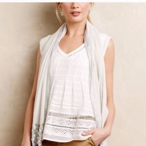 Anthropologie Maeve white ladder lace tank top